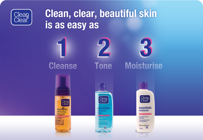 Clean & Clear - Clean, clear, beautiful skin is as easy as 1 (Cleanse), 2 (Tone), 3 (Moisterise)