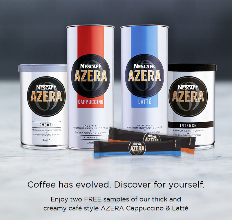 Coffee has evolved. Discover for yourself. Enjoy two FREE samples of our thick and creamy café style AZERA Cappuccino & Latté